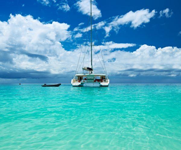 Beautiful beach with boat at Seychelles, Praslin, Anse Lazio
